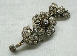 Beautiful Antique Gold Silver And Diamond Trembler Flower Brooch
