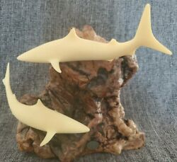 Shark Duo By John Perry 10 Inch Tall Sculpture Burll Wood Vintage Weighs 5+ Lbs.