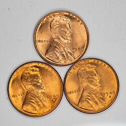 1949 P D S Lincoln Wheat Cent Penny Set 1c Gem Bu Brilliant Red Set Of 3 Coins
