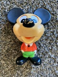 1976 Mattel Disney Pull String Mickey Mouse Talking Toy Working