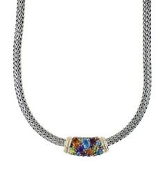 New Effy Sterling Silver And Rainbow Color Multistone Necklace/ 2050