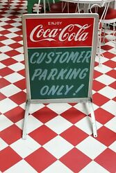 1950s Coca-cola Soda Tin Single Sided Customer Parking Only Ad Curb Sign