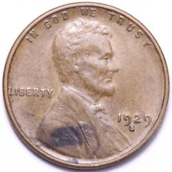 1929-s Lincoln Wheat Cent Penny Choice Au+ Free Shipping E780 Am