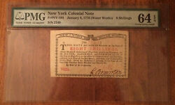 Ny-184 Pmg Gem 64 Epq 8s Jan 6 1776 New York Water Works Colonial Note
