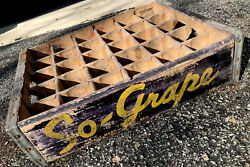 Very Rare Vintage 1940's So Grape Wood Soda Pop Crate 30 Dividers