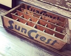 Very Rare Vintage 1960's Suncrest Wood Soda Crate Erie Pa