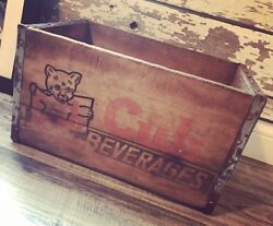 Very Rare Vintage Cub Beverages Co Wood Soda Crate Lock Haven Pa
