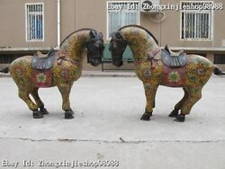 Chinese Royal 100 Pure Bronze Cloisonne Lucky War Horse Statue Pair