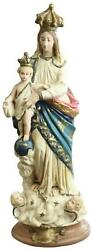 Sculpture Statue Religious Madonna Our Lady Of Victory Antique Chalkware