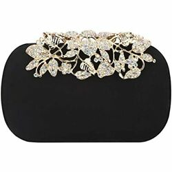Flower Purse With Rhinestones Velvet Clutch Evening Bags Black Handbags $44.91