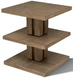 Scarborough House 3tier Occasional Table Brown Cerused Oak Bronze Lacq
