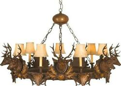 CHANDELIER 7 SMALL STAG HEAD DEER 3-LIGHT FAUX LEATHER SHADES SHADE CAST R