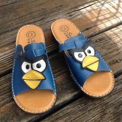 Smile Blue Angry Birds Slip On Sandals Womens 9 39 Mules Slides Shoes Open Toe