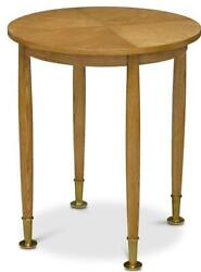 End Table Scarborough House Round Brushed Oak Brass Ferrules