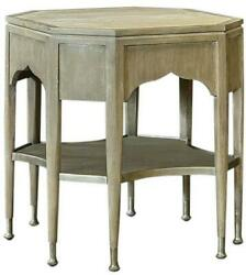 Side Table Port Eliot Octagonal Marble Top Ceruse Finish Silver Tier Draw