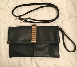 Women's faux leather black and gold bags cluch $14.00