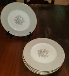 Vintage Wedgwood Grey Friar Pink Pattern Set Of 6 Luncheon Plates Discontinued