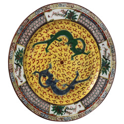 Fine Chinese Qianlong Style Round Green And Blue Dragons Yellow Porcelain Charger