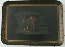 Hand-painted Papier Mache Tray With Gentleman Hunter, Horse And Two Dogs