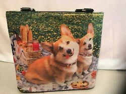Puppy Dogs Corgi Rhinestone Collars Purse Tote Fabric Handbag Lined Shoulder Bag $24.99