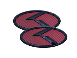 3d K Logo Emblem Red Carbon And Glossy Black 2pc Fits Kia 2018+ Stinger