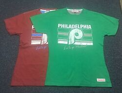 Philadelphia Phillies Mitchell And Ness T Shirts 1 Red And 1 Green Size Medium