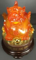 Asian Chinese Foodog Lucite Dragon W/ Lucky Coins Statue Feng Shui 16 In Height
