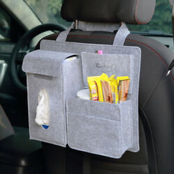Car Seat Back Storage Bag Organizer Multi Pocket Travel napkin snack drink BLACK