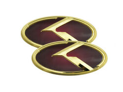 3d K Logo Emblem Red And Gold 2pc Fits Kia 2011-2020 Optima K5