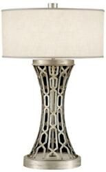 Table Lamp Pierced Gallery 1-light Textured White Platinized Silver Leaf B