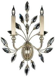 Crystal Laurel Sconce Wall 2-light Antique Taupe Silver-leafed Accents Met