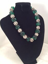 Vintage French Art Deco Green Glass Faux Emerald Melon Bead Rhinestone Necklace