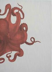 Wall Art Print 19th C Octopus Study 47x65 White Coral Gray Red Brass Pine