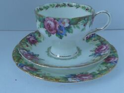 """Paragon Tapestry Rose Trio Bone China Corset Tea Cup And Saucer 6"""" Side Plate"""
