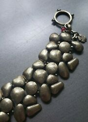 Lucky Brand Antiqued Brass Tone Pebbled Toggle Clasp Wide Bracelet 8