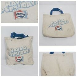 Vintage Pepsi Cola Have A Pepsi Day Tote Bag White Blue Straps Late 1970and039s