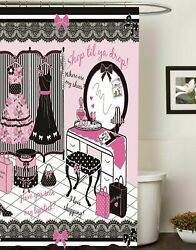 72x72 inch Fashion Diva Canvas Fabric Shower Curtain Glamour Girl Pink Color