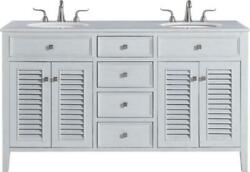 Bathroom Vanity Sink Contemporary Double 60-in Antique White Brushed Steel