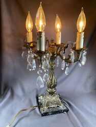 Vintage Victorian Parlor Electric 4 Arm Candelabra Table Lamp W/ Crystals E337