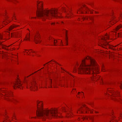 Holiday Heartland By Jan Shade Beach For Henry Glass Red Barns #9210 88 $11.75