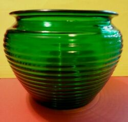 Vintage Depression Glass Compote Forest Green Ribbed 4.75 Tall Manhattan
