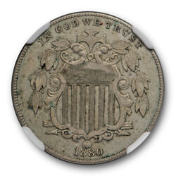 1880 5c Proof Shield Nickel Ngc Pf / Pr 50 About Uncirculated Circulated Pro...