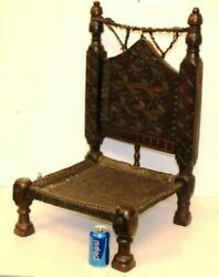 Antique Beautiful Hand Carved And Woven Moorish Chair