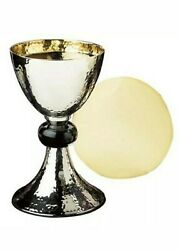 Hammered Nickel Plated And Enamel 19 Oz Chalice And Paten Set Ns681