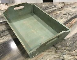 Large Green Wooden Tray Box W/ Sides And Handles Farmhouse Farm House Style