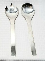 Vintage Napier Silver Plated Salad Serving Spoon And Fork 10 In