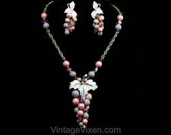 1950s Grapes Necklace And Earrings - Pink And Purple Bauble Clusters By Park Lane