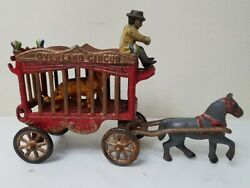 Overland Circus 4-pc Cast Iron Horse-drawn Wagon With Tiger And Driver