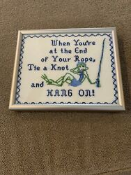 Vintage Frog Cross Stitch Needlepoint Framed Andldquowhen Your At End Of Ropeandrdquo Ns