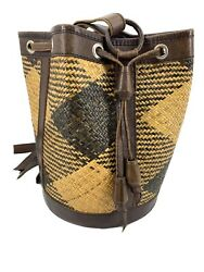 Vtg Convertible Elliot Lucca Round Straw Woven Sling Bucket Bag Leather Trim $39.99